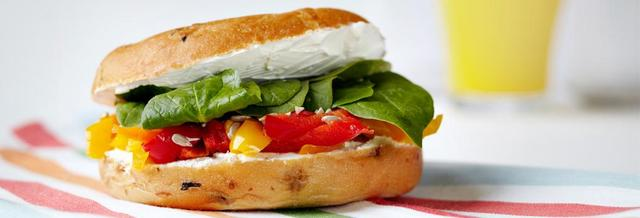 Toasted Bagel - Roasted Pepper, Cream Cheese, Cucumber, Sunblushed Tomato & Mixed Leaves